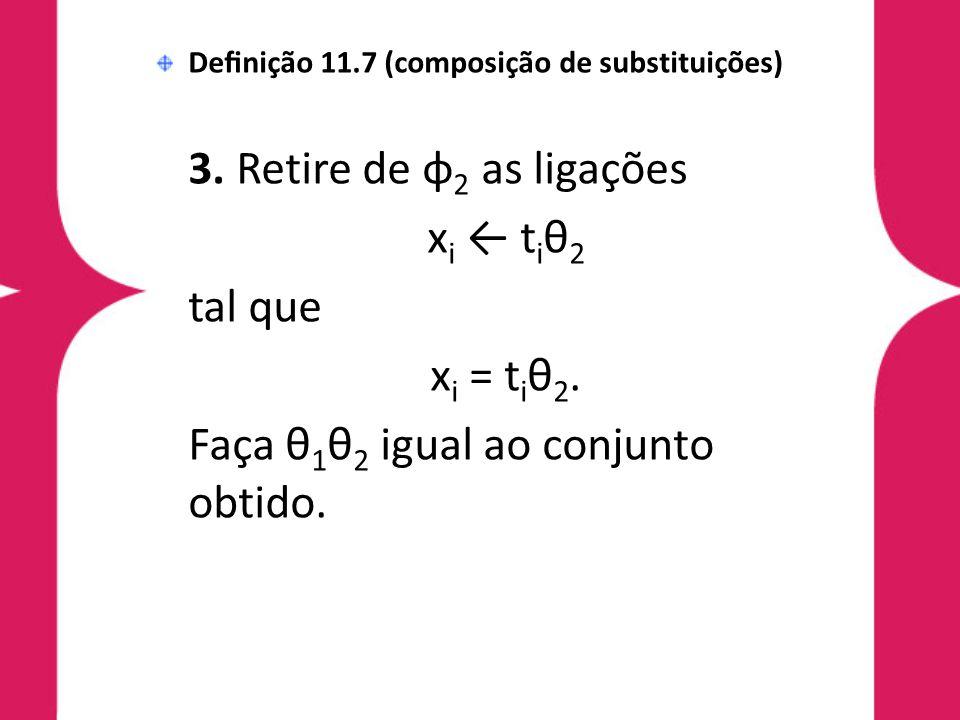 Definição 11.7 (composição de substituições) 3. Retire de φ 2 as ligações x i ← t i θ 2 tal que x i = t i θ 2. Faça θ 1 θ 2 igual ao conjunto obtido.