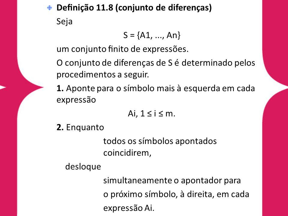 Definição 11.8 (conjunto de diferenças) Seja S = {A1,..., An} um conjunto finito de expressões. O conjunto de diferenças de S é determinado pelos proced