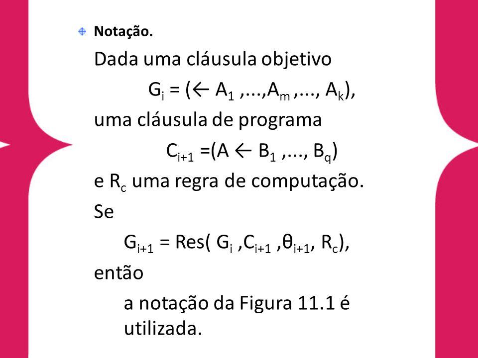 Notação. Dada uma cláusula objetivo G i = (← A 1,...,A m,..., A k ), uma cláusula de programa C i+1 =(A ← B 1,..., B q ) e R c uma regra de computação