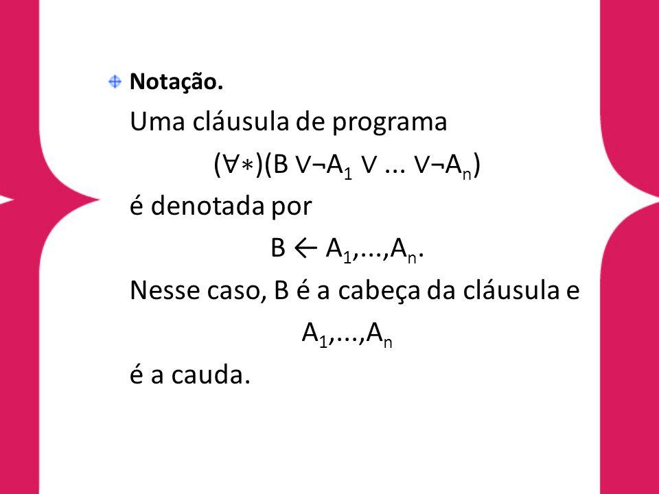 Notação. Uma cláusula de programa ( ∀∗ )(B ∨ ¬A 1 ∨... ∨ ¬A n ) é denotada por B ← A 1,...,A n. Nesse caso, B é a cabeça da cláusula e A 1,...,A n é a