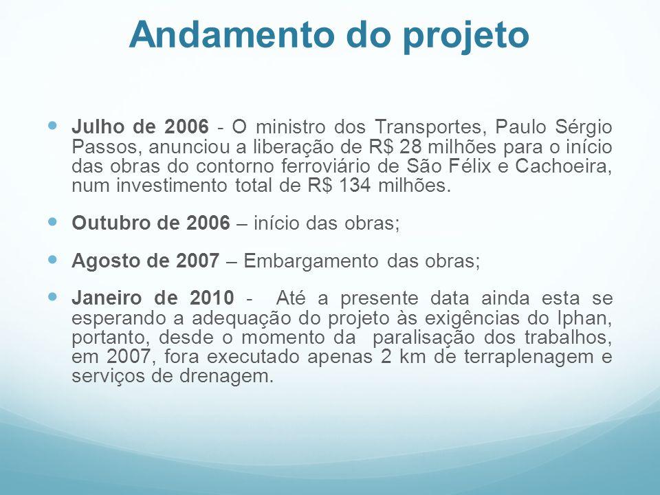 Andamento do projeto  Julho de 2006 - O ministro dos Transportes, Paulo Sérgio Passos, anunciou a liberação de R$ 28 milhões para o início das obras