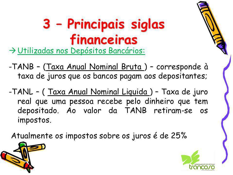 3 – Principais siglas financeiras  Utilizadas nos Depósitos Bancários: -TANB – (Taxa Anual Nominal Bruta ) – corresponde à taxa de juros que os bancos pagam aos depositantes; -TANL – ( Taxa Anual Nominal Liquida ) – Taxa de juro real que uma pessoa recebe pelo dinheiro que tem depositado.