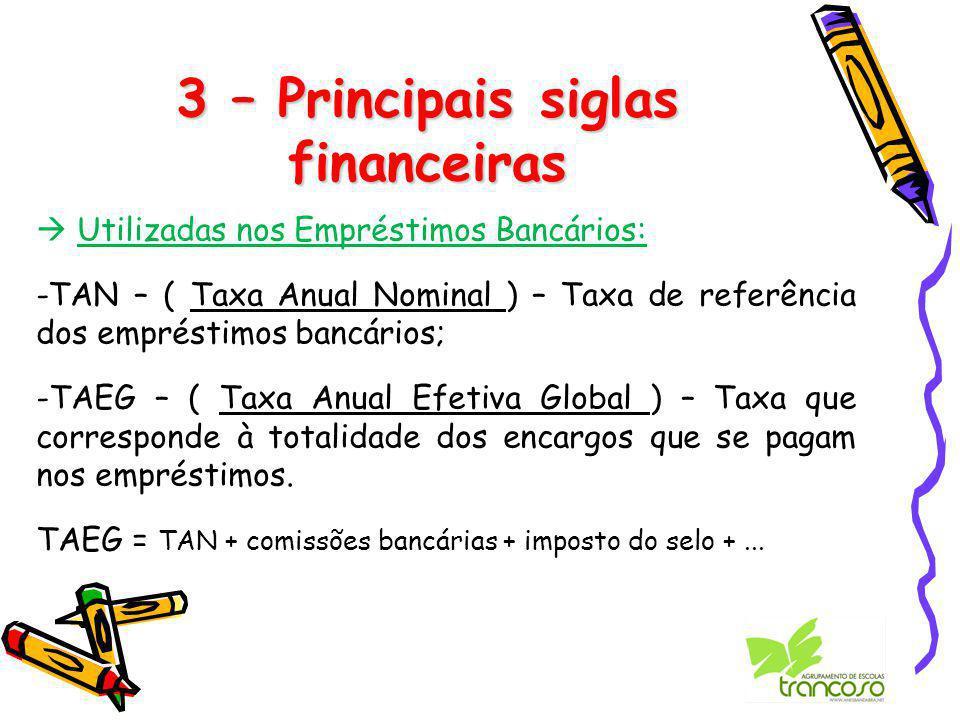3 – Principais siglas financeiras  Utilizadas nos Empréstimos Bancários: -TAN – ( Taxa Anual Nominal ) – Taxa de referência dos empréstimos bancários; -TAEG – ( Taxa Anual Efetiva Global ) – Taxa que corresponde à totalidade dos encargos que se pagam nos empréstimos.
