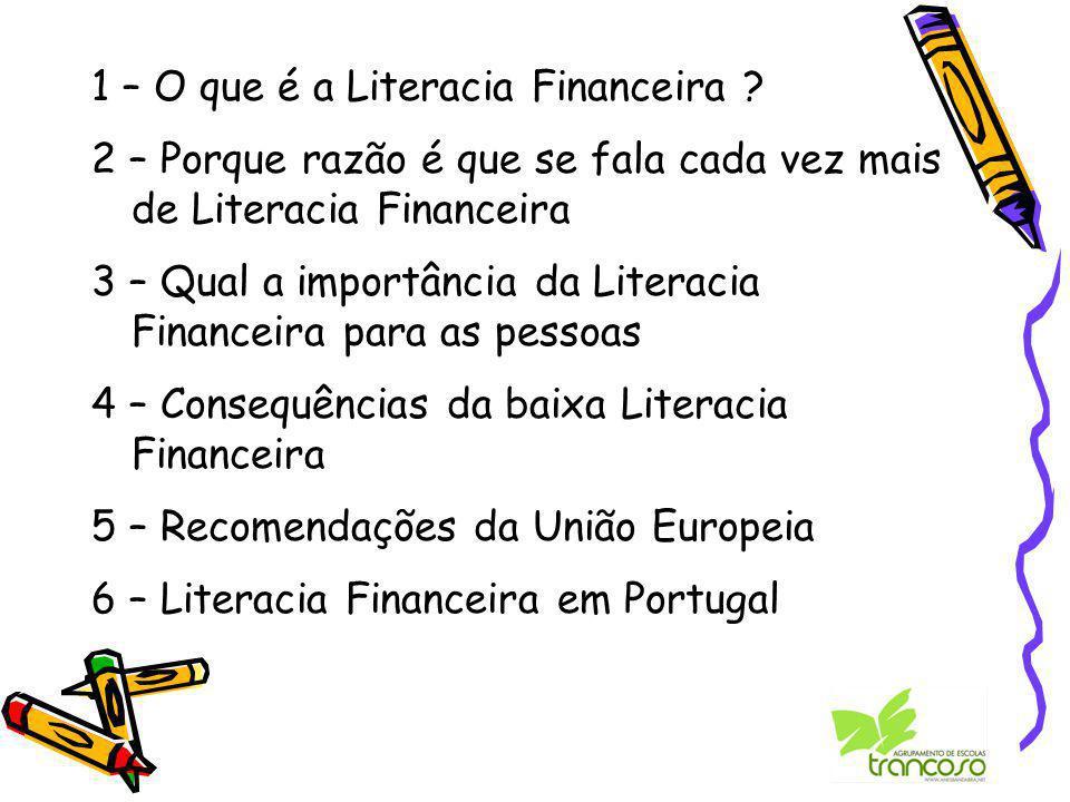 1 – O que é a Literacia Financeira .