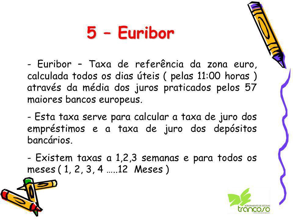 5 – Euribor - Euribor – Taxa de referência da zona euro, calculada todos os dias úteis ( pelas 11:00 horas ) através da média dos juros praticados pelos 57 maiores bancos europeus.