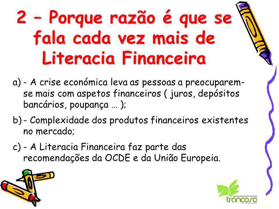 2 – Porque razão é que se fala cada vez mais de Literacia Financeira a)- A crise económica leva as pessoas a preocuparem- se mais com aspetos financeiros ( juros, depósitos bancários, poupança … ); b)- Complexidade dos produtos financeiros existentes no mercado; c)- A Literacia Financeira faz parte das recomendações da OCDE e da União Europeia.