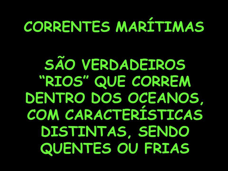 CORRENTES MARÍTIMAS SÃO VERDADEIROS RIOS QUE CORREM DENTRO DOS OCEANOS, COM CARACTERÍSTICAS DISTINTAS, SENDO QUENTES OU FRIAS
