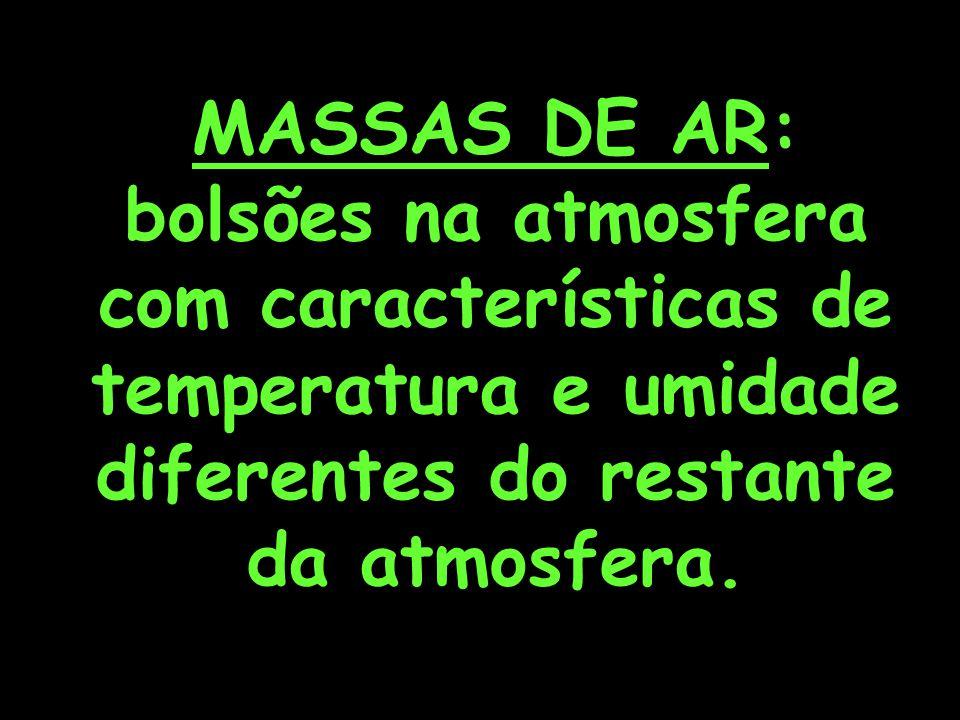 MASSAS DE AR: bolsões na atmosfera com características de temperatura e umidade diferentes do restante da atmosfera.