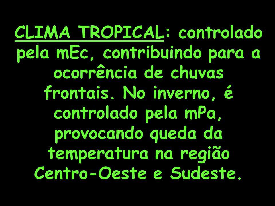 CLIMA TROPICAL: controlado pela mEc, contribuindo para a ocorrência de chuvas frontais.