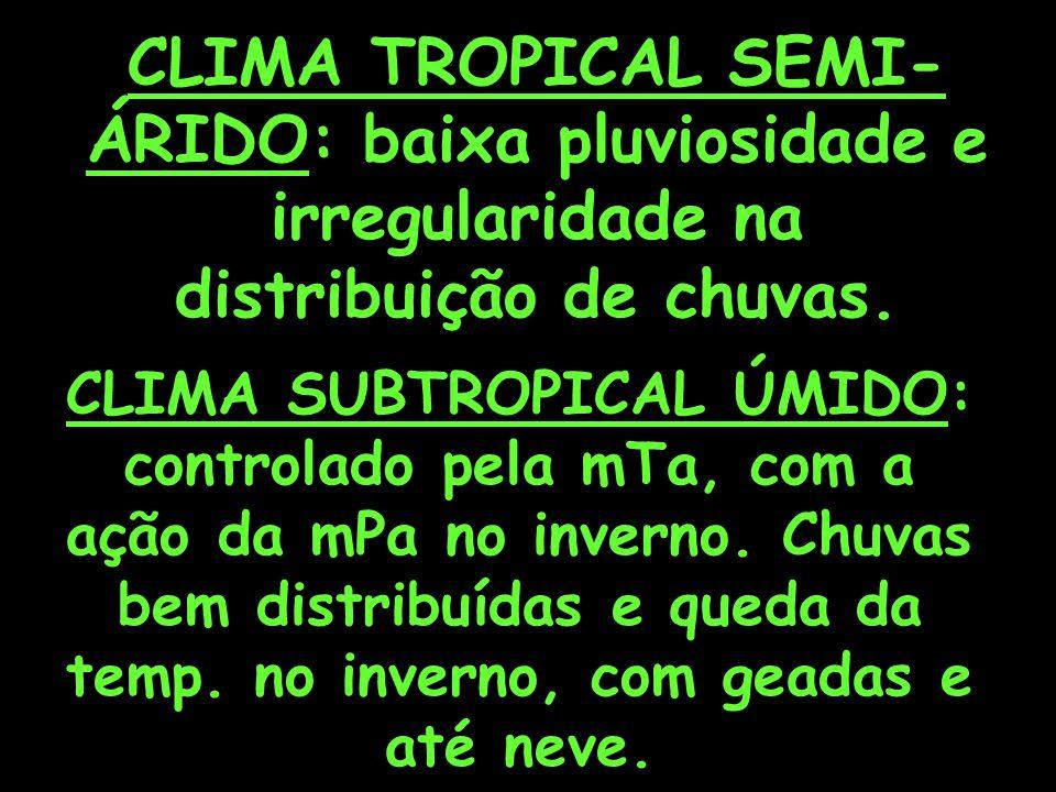 CLIMA TROPICAL SEMI- ÁRIDO: baixa pluviosidade e irregularidade na distribuição de chuvas.