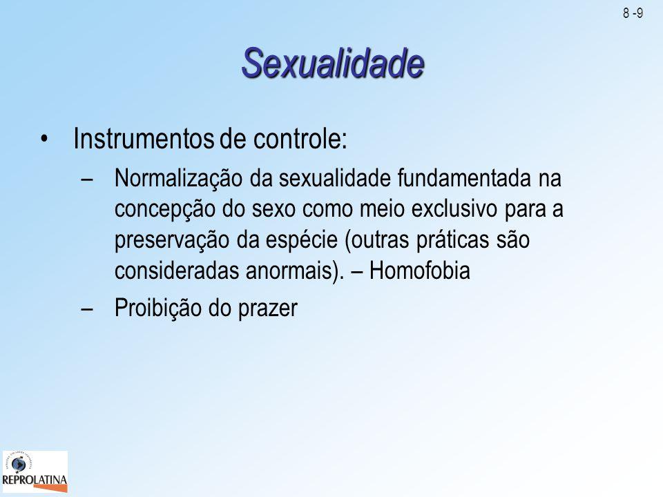 Sexualidade •Instrumentos de controle: –Normalização da sexualidade fundamentada na concepção do sexo como meio exclusivo para a preservação da espéci