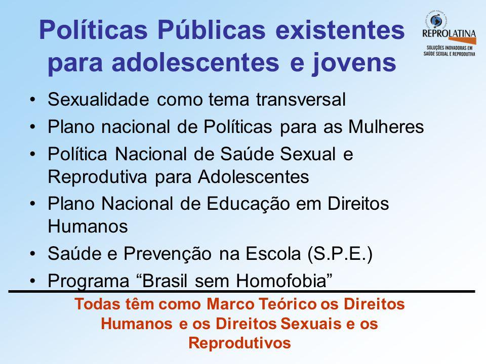 Políticas Públicas existentes para adolescentes e jovens •Sexualidade como tema transversal •Plano nacional de Políticas para as Mulheres •Política Na