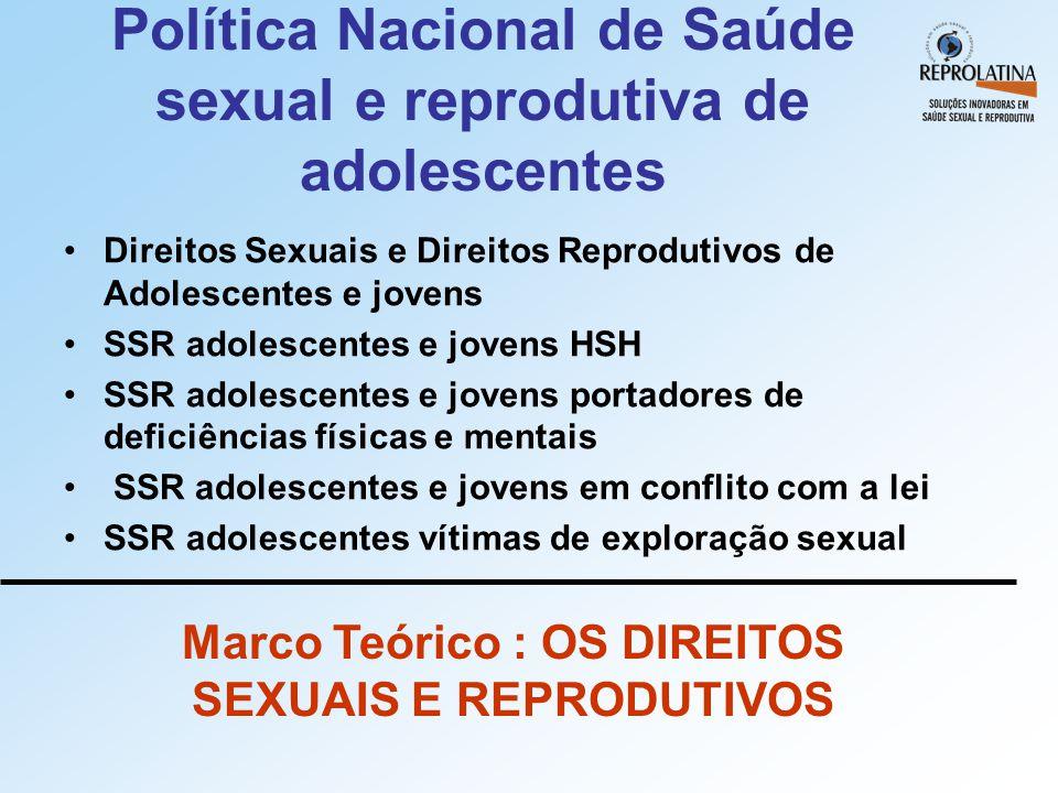 Política Nacional de Saúde sexual e reprodutiva de adolescentes •Direitos Sexuais e Direitos Reprodutivos de Adolescentes e jovens •SSR adolescentes e