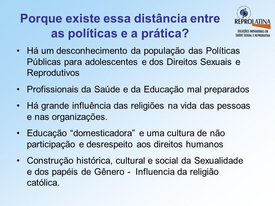 Porque existe essa distância entre as políticas e a prática? •Há um desconhecimento da população das Políticas Públicas para adolescentes e dos Direit