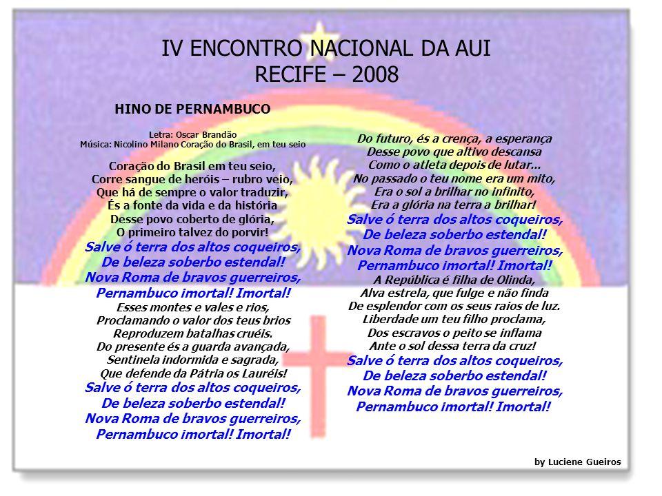 IV ENCONTRO NACIONAL DA AUI RECIFE – 2008 Apoio: Colégio Equipe: 1º Lugar no Enem em 2005 e 2006.