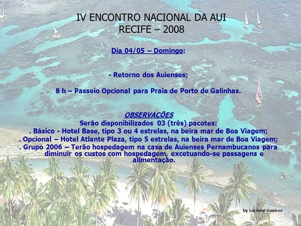 IV ENCONTRO NACIONAL DA AUI RECIFE – 2008 Dia 03/05 – Sábado: 7:30 h – Saída do Hotel para Caruaru com passagem em Bezerros; 9 h – Visita ao Centro de Artesanato / Atelier J Borges (Bezerros); 10:30h – Visita a Feira de Caruaru; 12 h – Almoço: Buffet BACCUS (Shopping Caruaru); 14 h – Faculdade de Direito de Caruaru: Recepção com exibição de Banda de Pífano e Grupo de Bacamarteiros; 14:30 h – Presidente da Mesa e Encerramento: Dr.