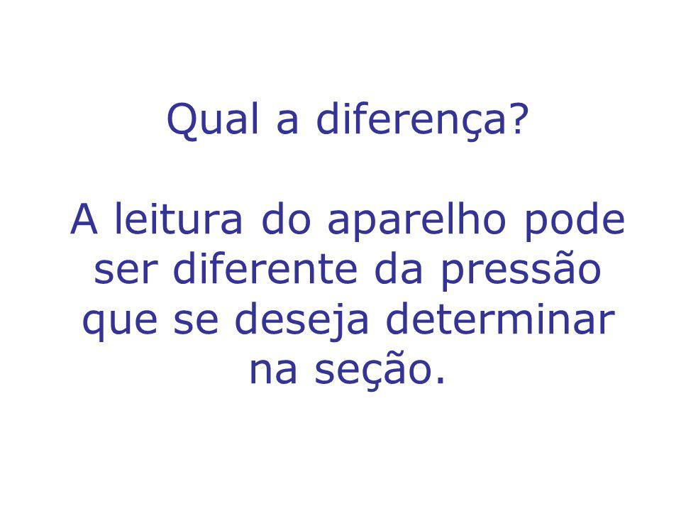 Qual a diferença? A leitura do aparelho pode ser diferente da pressão que se deseja determinar na seção.