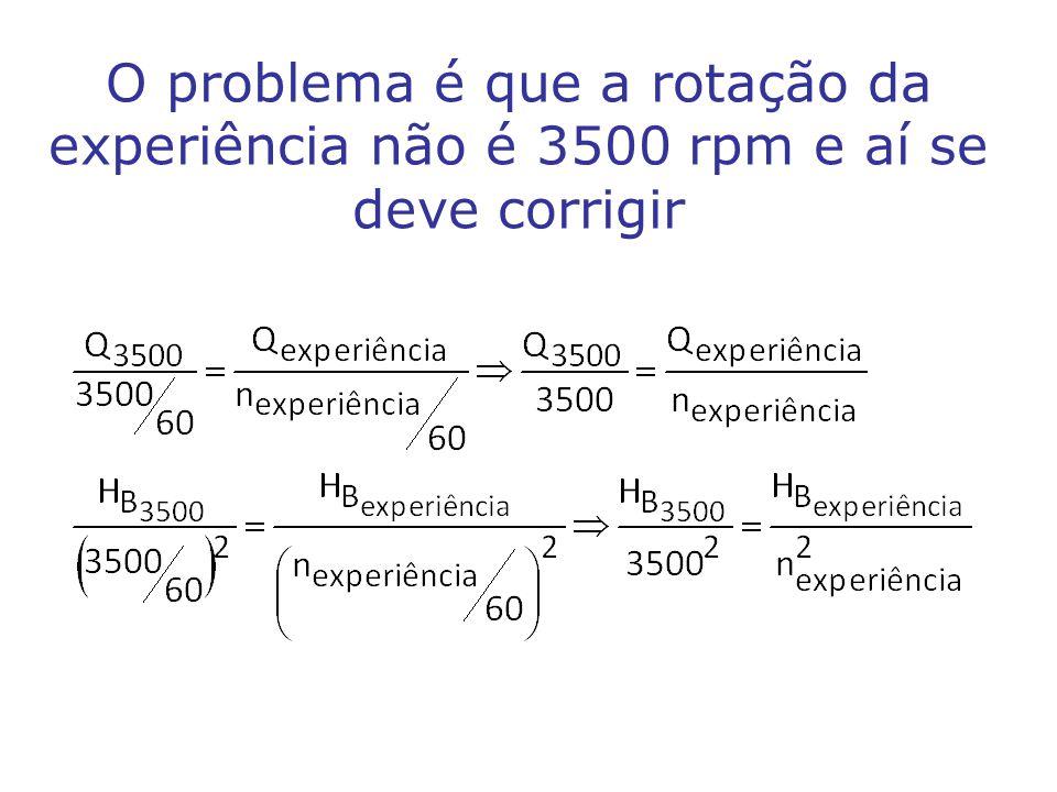 O problema é que a rotação da experiência não é 3500 rpm e aí se deve corrigir
