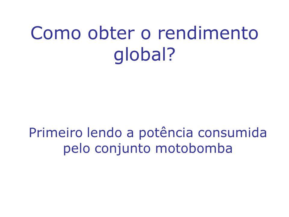 Como obter o rendimento global? Primeiro lendo a potência consumida pelo conjunto motobomba