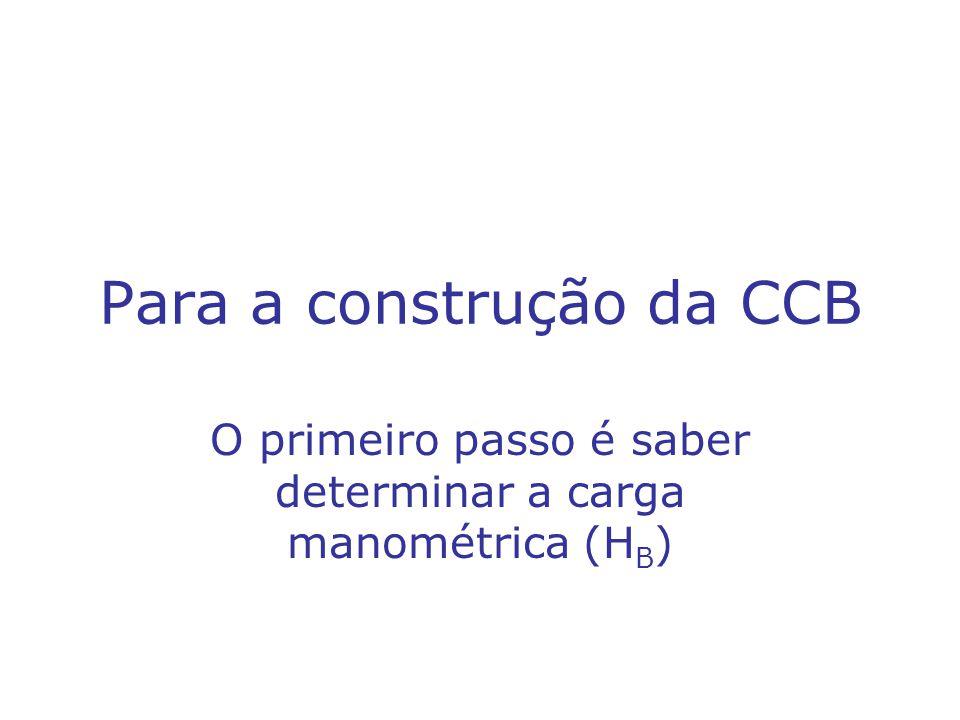 Para a construção da CCB O primeiro passo é saber determinar a carga manométrica (H B )