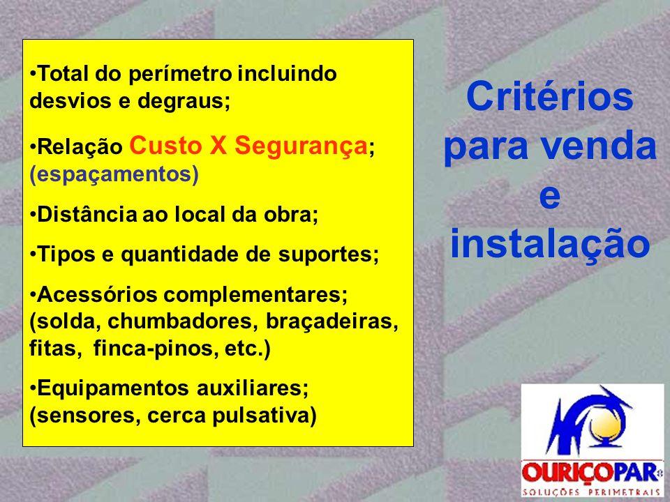 Critérios para venda e instalação •Total do perímetro incluindo desvios e degraus; •Relação Custo X Segurança ; (espaçamentos) •Distância ao local da