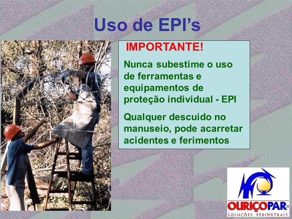 Uso de EPI's Nunca subestime o uso de ferramentas e equipamentos de proteção individual - EPI Qualquer descuido no manuseio, pode acarretar acidentes