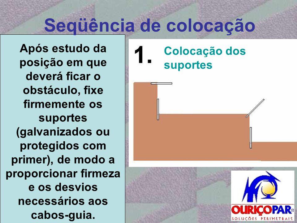 Seqüência de colocação Após estudo da posição em que deverá ficar o obstáculo, fixe firmemente os suportes (galvanizados ou protegidos com primer), de