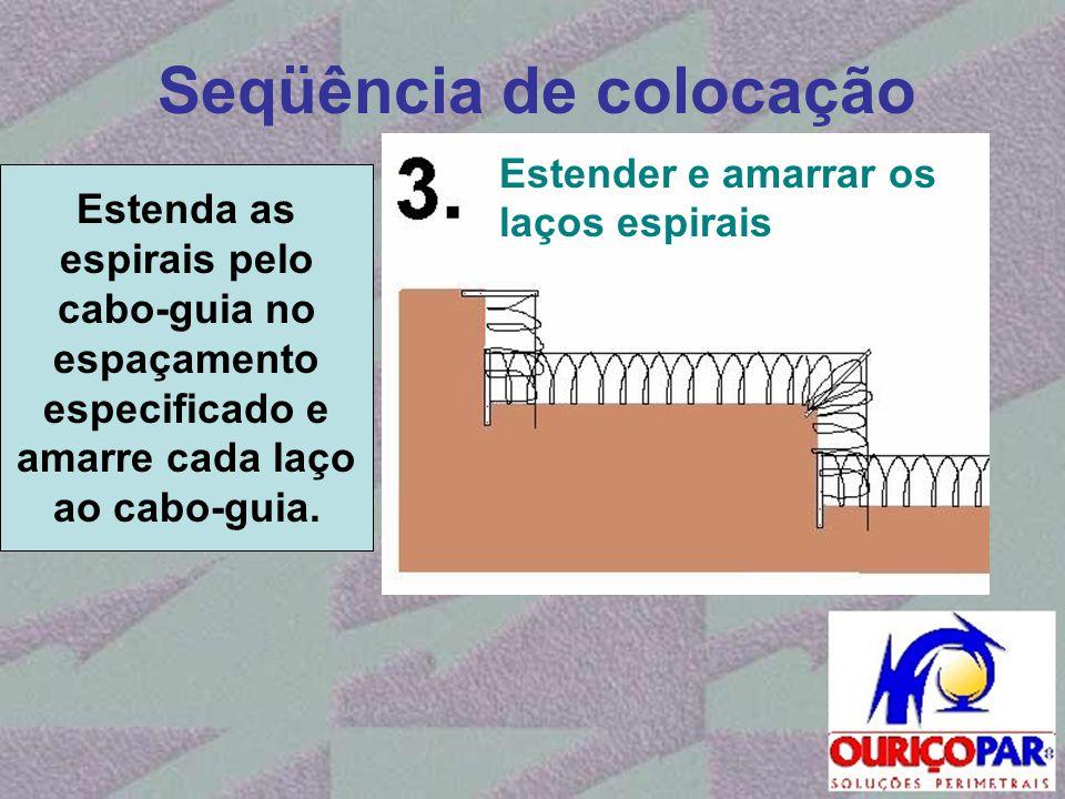 Seqüência de colocação Estenda as espirais pelo cabo-guia no espaçamento especificado e amarre cada laço ao cabo-guia. Estender e amarrar os laços esp
