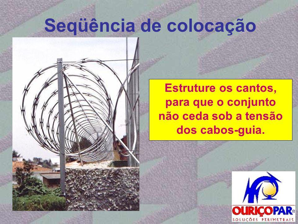 Seqüência de colocação Estruture os cantos, para que o conjunto não ceda sob a tensão dos cabos-guia.