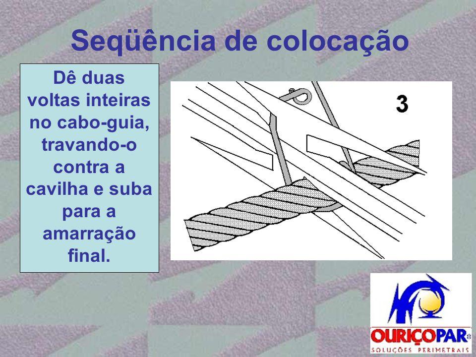 Seqüência de colocação Dê duas voltas inteiras no cabo-guia, travando-o contra a cavilha e suba para a amarração final.