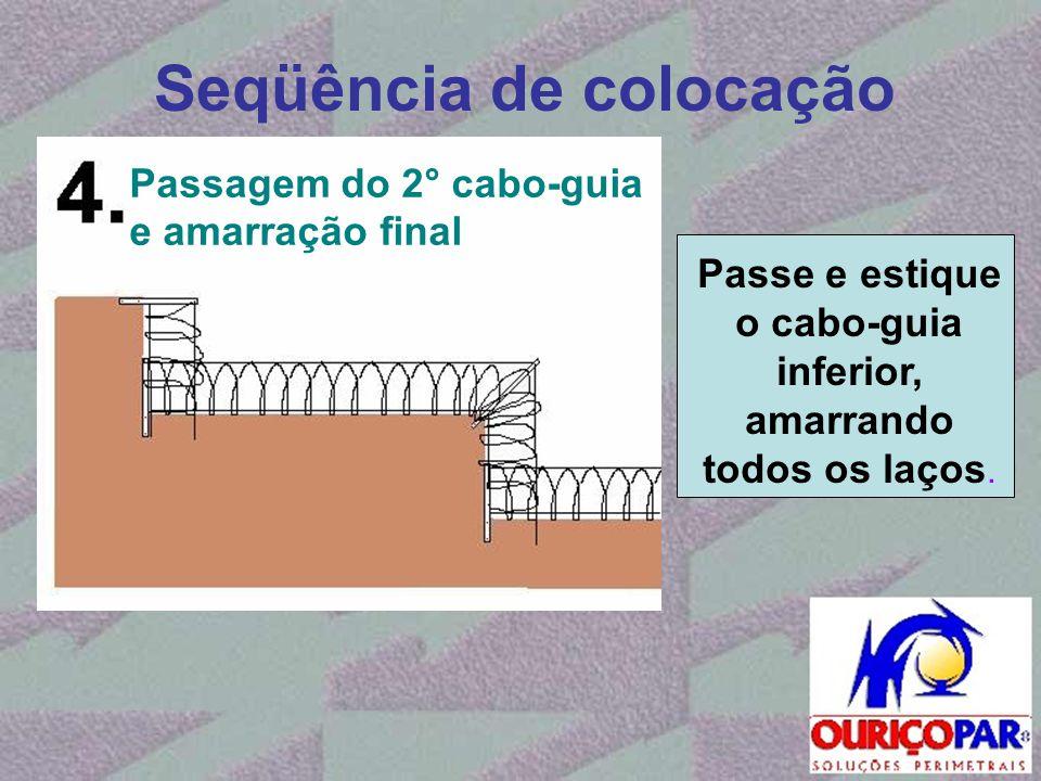 Seqüência de colocação Passe e estique o cabo-guia inferior, amarrando todos os laços. Passagem do 2° cabo-guia e amarração final