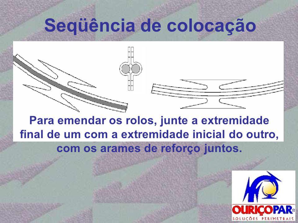 Seqüência de colocação Para emendar os rolos, junte a extremidade final de um com a extremidade inicial do outro, com os arames de reforço juntos.