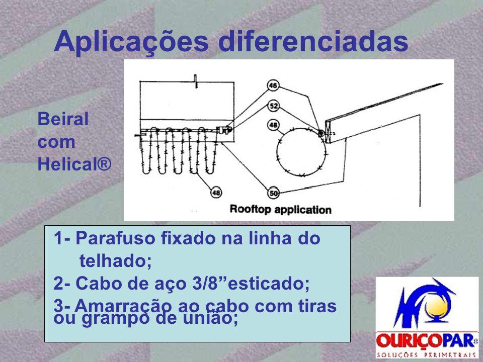 """Aplicações diferenciadas 1- Parafuso fixado na linha do telhado; 2- Cabo de aço 3/8""""esticado; 3- Amarração ao cabo com tiras ou grampo de união; Beira"""