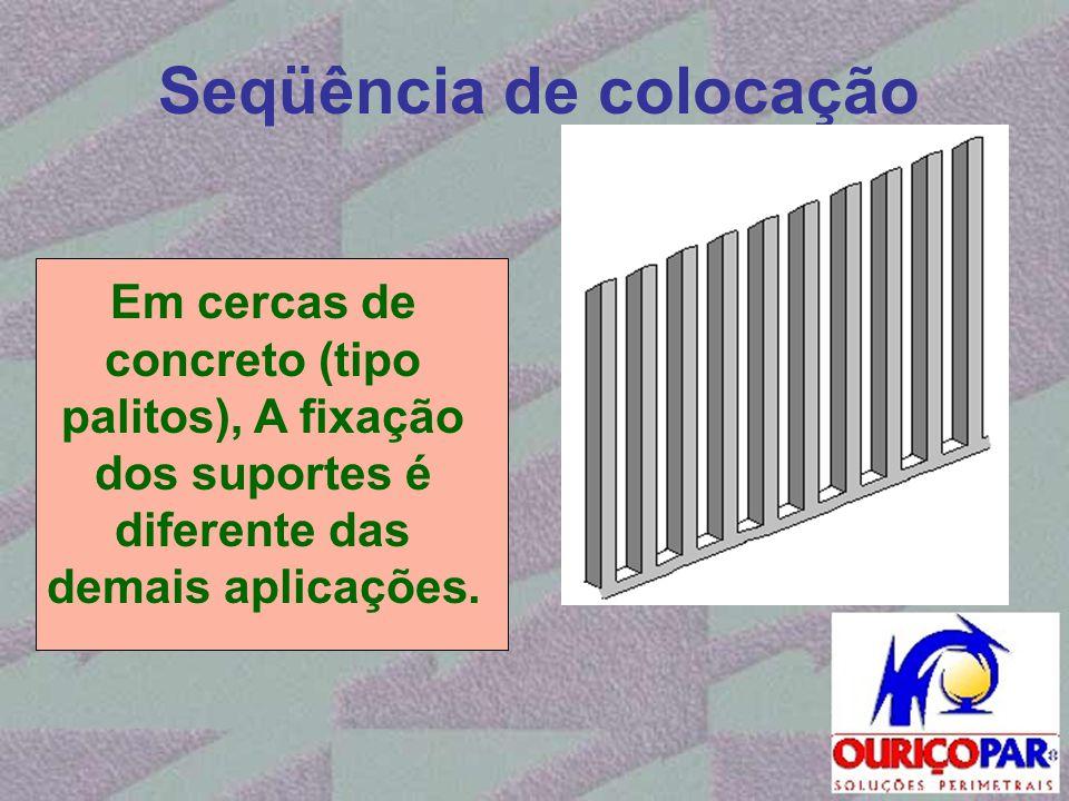 Seqüência de colocação Em cercas de concreto (tipo palitos), A fixação dos suportes é diferente das demais aplicações.