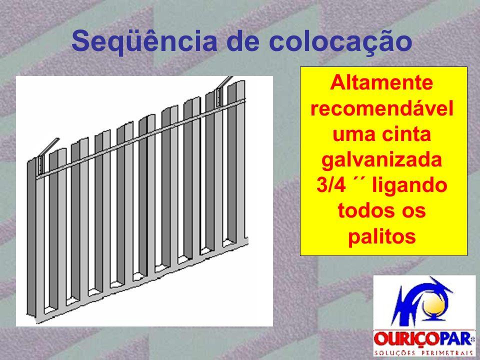 Seqüência de colocação Altamente recomendável uma cinta galvanizada 3/4 ´´ ligando todos os palitos