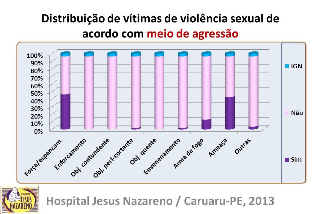 Distribuição de vítimas de violência sexual de acordo com meio de agressão Hospital Jesus Nazareno / Caruaru-PE, 2013