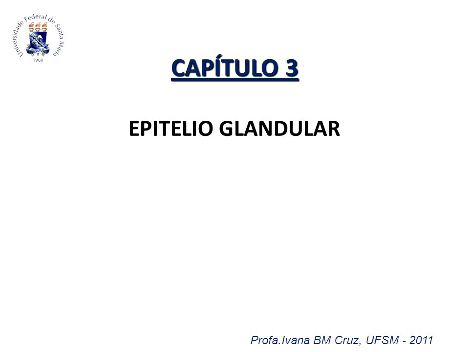 Profa.Ivana BM Cruz, UFSM - 2011 CAPÍTULO 3 CAPÍTULO 3 EPITELIO GLANDULAR