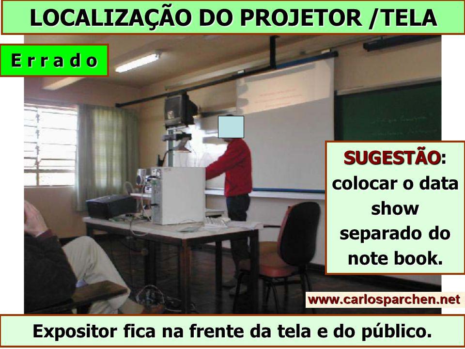 LOCALIZAÇÃO DO PROJETOR /TELA E r r a d o Expositor fica na frente da tela e do público.
