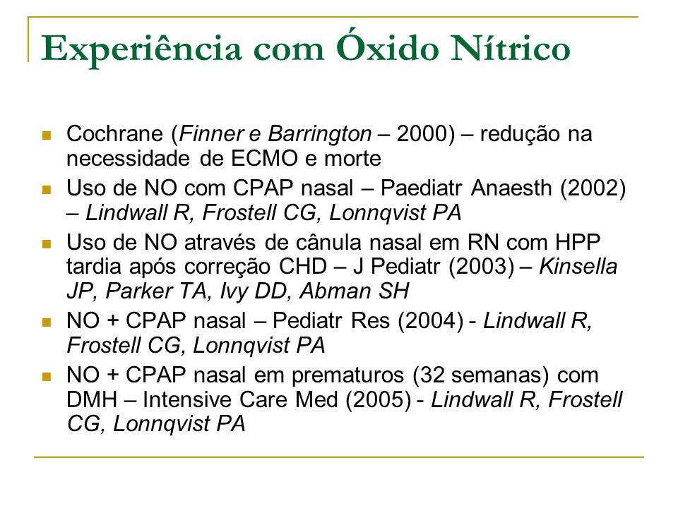 Experiência com Óxido Nítrico  Cochrane (Finner e Barrington – 2000) – redução na necessidade de ECMO e morte  Uso de NO com CPAP nasal – Paediatr Anaesth (2002) – Lindwall R, Frostell CG, Lonnqvist PA  Uso de NO através de cânula nasal em RN com HPP tardia após correção CHD – J Pediatr (2003) – Kinsella JP, Parker TA, Ivy DD, Abman SH  NO + CPAP nasal – Pediatr Res (2004) - Lindwall R, Frostell CG, Lonnqvist PA  NO + CPAP nasal em prematuros (32 semanas) com DMH – Intensive Care Med (2005) - Lindwall R, Frostell CG, Lonnqvist PA
