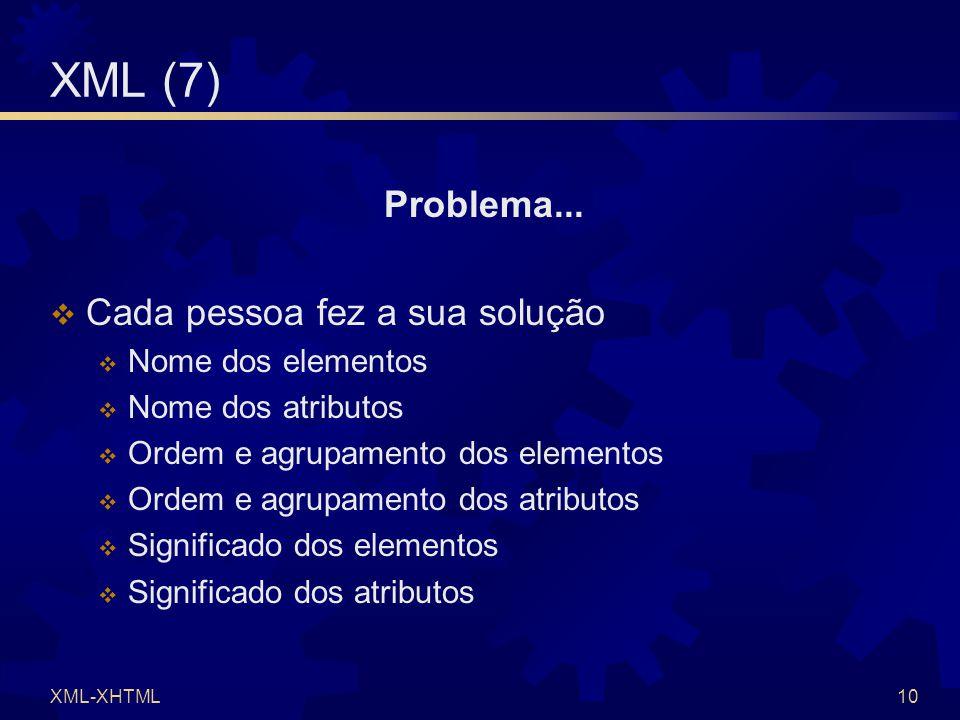 XML-XHTML10 XML (7) Problema...  Cada pessoa fez a sua solução  Nome dos elementos  Nome dos atributos  Ordem e agrupamento dos elementos  Ordem