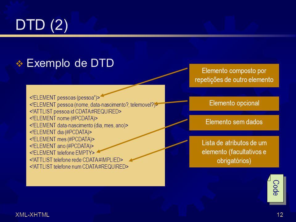 XML-XHTML12 DTD (2)  Exemplo de DTD Elemento composto por repetições de outro elemento Elemento opcional Lista de atributos de um elemento (facultativos e obrigatórios) Elemento sem dados Code