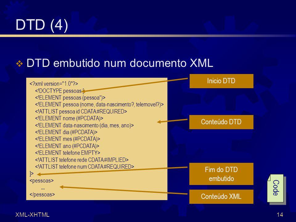 XML-XHTML14 <!DOCTYPE pessoas [ ]>...