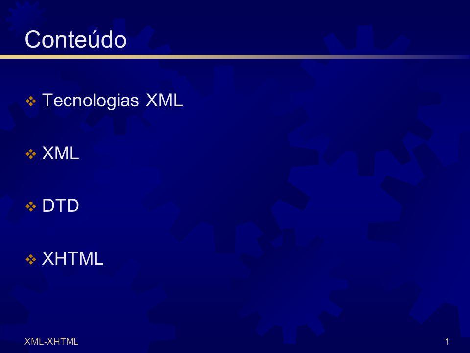 XML-XHTML22 XHTML (6)  Conteúdo possível  Parágrafos  texto  Mudanças de linha   Separadores horizontais   Caracteres especiais  & < > ã á à â € ç