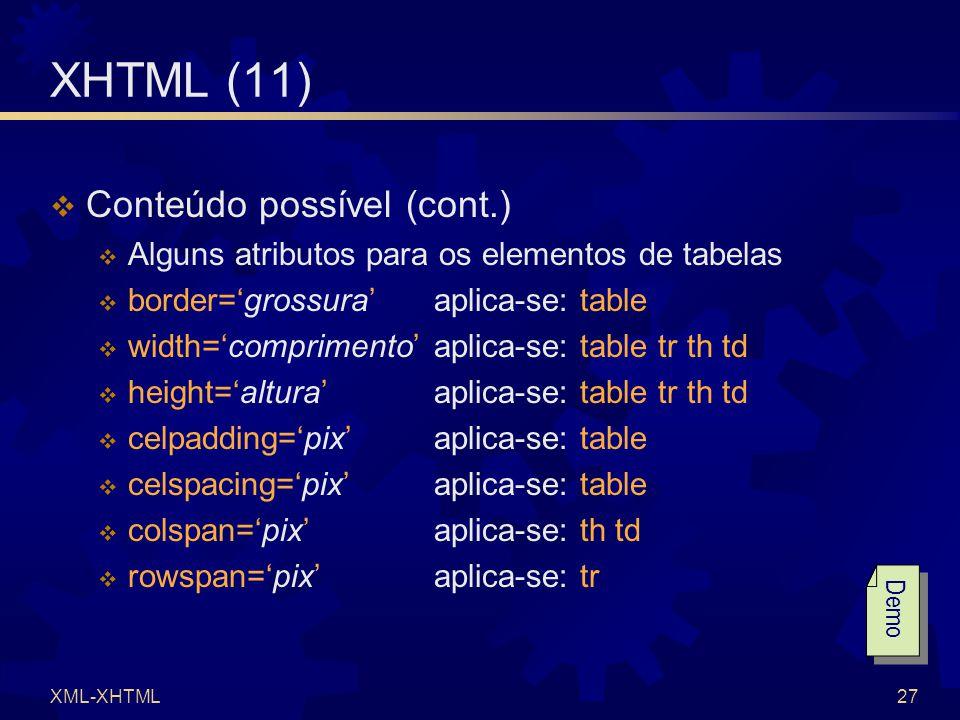 XML-XHTML27 XHTML (11)  Conteúdo possível (cont.)  Alguns atributos para os elementos de tabelas  border='grossura' aplica-se: table  width='comprimento' aplica-se: table tr th td  height='altura' aplica-se: table tr th td  celpadding='pix' aplica-se: table  celspacing='pix' aplica-se: table  colspan='pix' aplica-se: th td  rowspan='pix' aplica-se: tr Demo