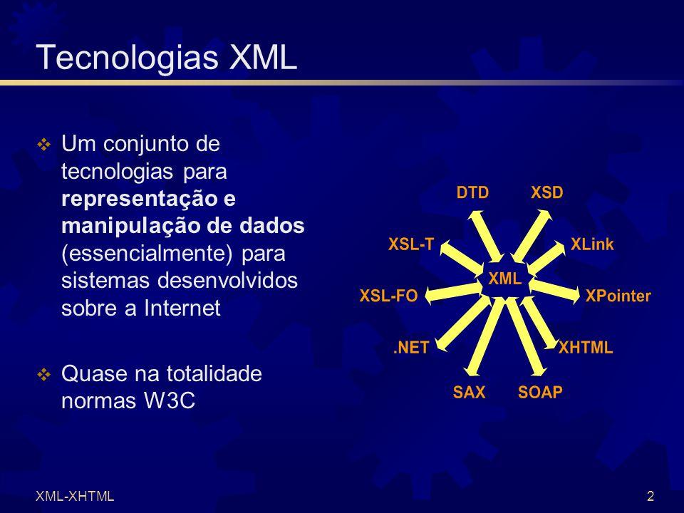 XML-XHTML2 Tecnologias XML  Um conjunto de tecnologias para representação e manipulação de dados (essencialmente) para sistemas desenvolvidos sobre a Internet  Quase na totalidade normas W3C