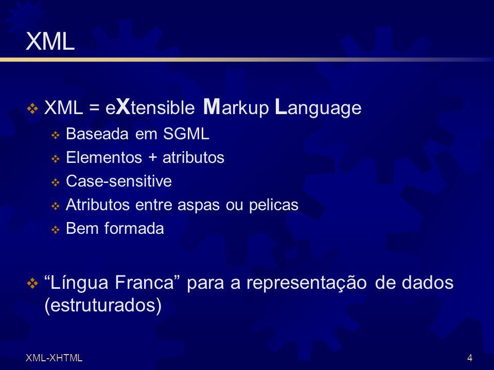 XML-XHTML4 XML  XML = e X tensible M arkup L anguage  Baseada em SGML  Elementos + atributos  Case-sensitive  Atributos entre aspas ou pelicas  Bem formada  Língua Franca para a representação de dados (estruturados)