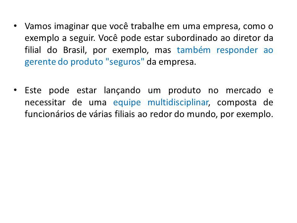 • Vamos imaginar que você trabalhe em uma empresa, como o exemplo a seguir. Você pode estar subordinado ao diretor da filial do Brasil, por exemplo, m