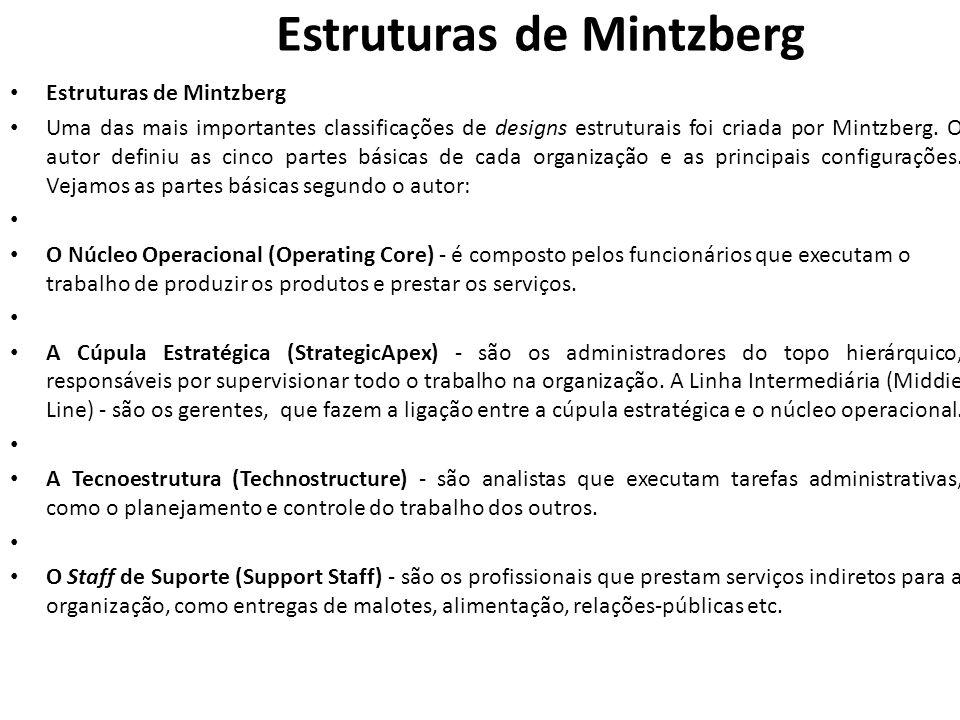 Estruturas de Mintzberg • Estruturas de Mintzberg • Uma das mais importantes classificações de designs estruturais foi criada por Mintzberg. O autor d
