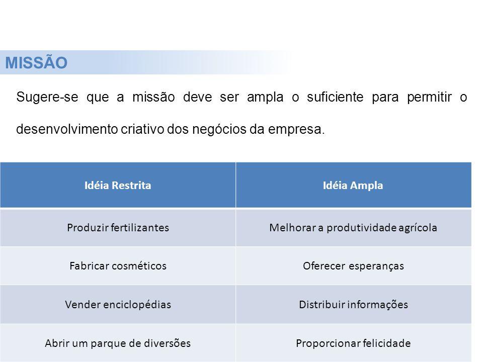 Sugere-se que a missão deve ser ampla o suficiente para permitir o desenvolvimento criativo dos negócios da empresa. MISSÃO Idéia RestritaIdéia Ampla