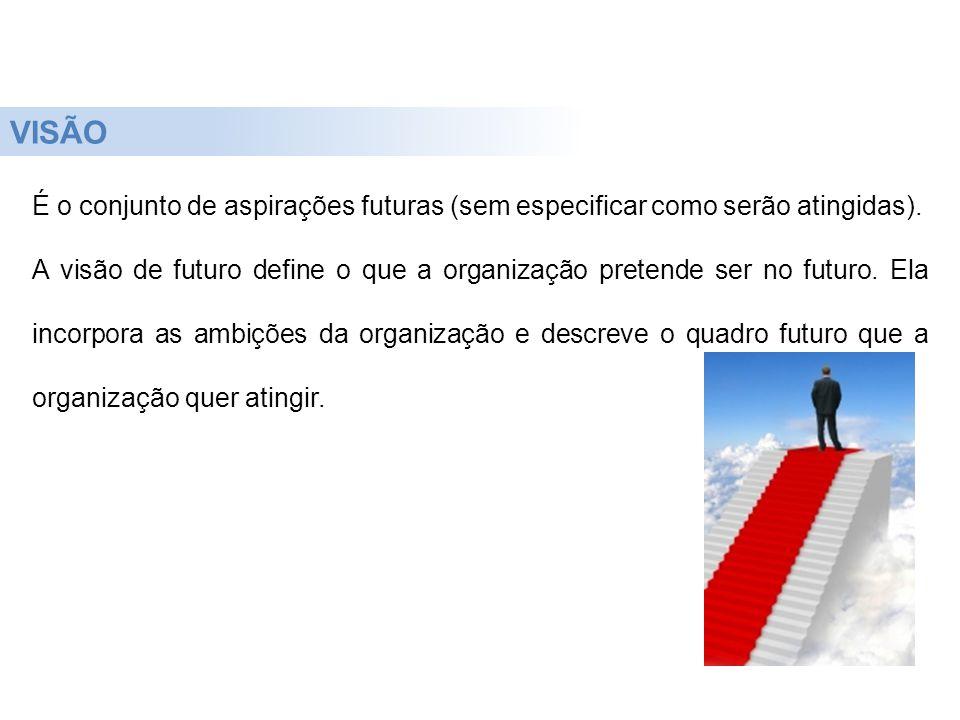 É o conjunto de aspirações futuras (sem especificar como serão atingidas). A visão de futuro define o que a organização pretende ser no futuro. Ela in